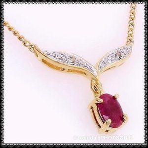 BRAND NEW Gold w/ Genuine Ruby & Diamond Pendant